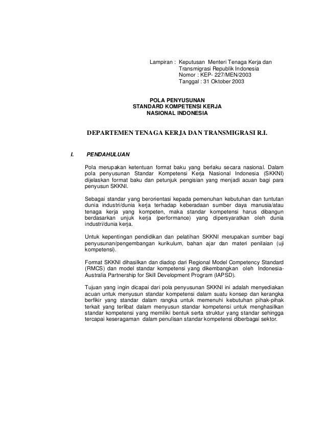 Lampiran : Keputusan Menteri Tenaga Kerja dan                                        Transmigrasi Republik Indonesia      ...