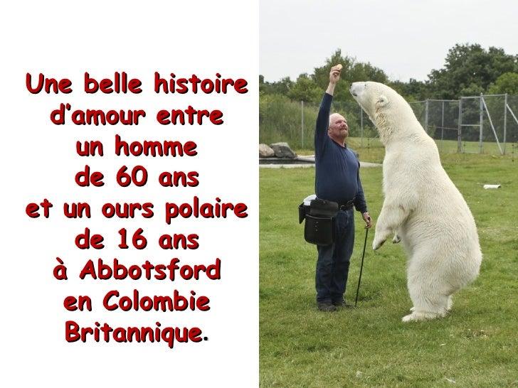 Une belle histoire  d'amour entre    un homme    de 60 anset un ours polaire    de 16 ans  à Abbotsford   en Colombie   Br...