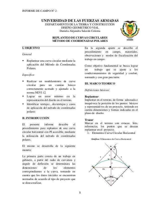 INFORME DE CAMPO No 2 1 UNIVERSIDAD DE LAS FUERZAS ARMADAS DEPARTAMENTO DE LA TIERRA Y CONSTRUCCIÓN DISEÑO GEOMETRICO VIAL...