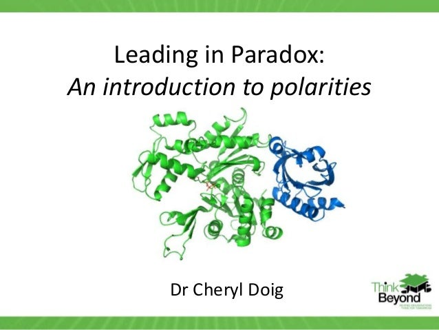 Leading in Paradox: An introduction to polarities Dr Cheryl Doig
