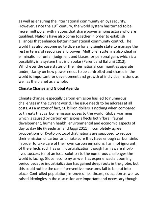 Comprehensive essay global warming