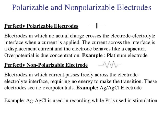 Polarizable and Nonpolarizable Electrodes Perfectly Polarizable Electrodes Electrodes in which no actual charge crosses th...