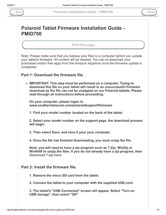Polaroid tablet firmware installation guide pmid700