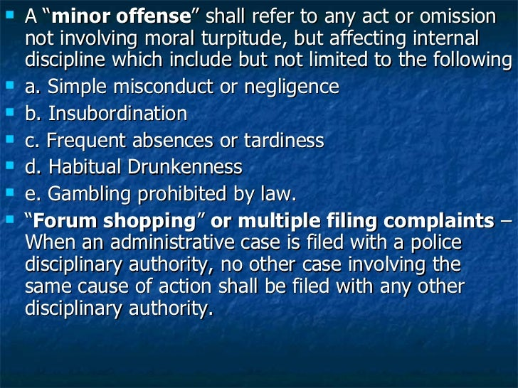 """<ul><li>A """" minor offense """" shall refer to any act or omission not involving moral turpitude, but affecting internal disci..."""