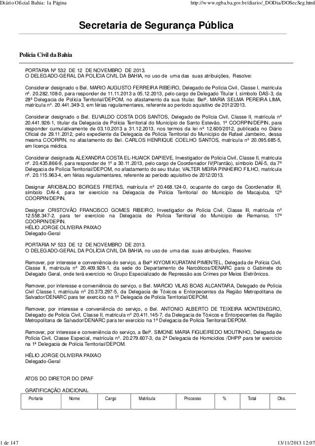 Diário Oficial Bahia: 1a Página  1 de 147  http://www.egba.ba.gov.br/diario/_DODia/DOSecSeg.html  Secretaria de Segurança ...