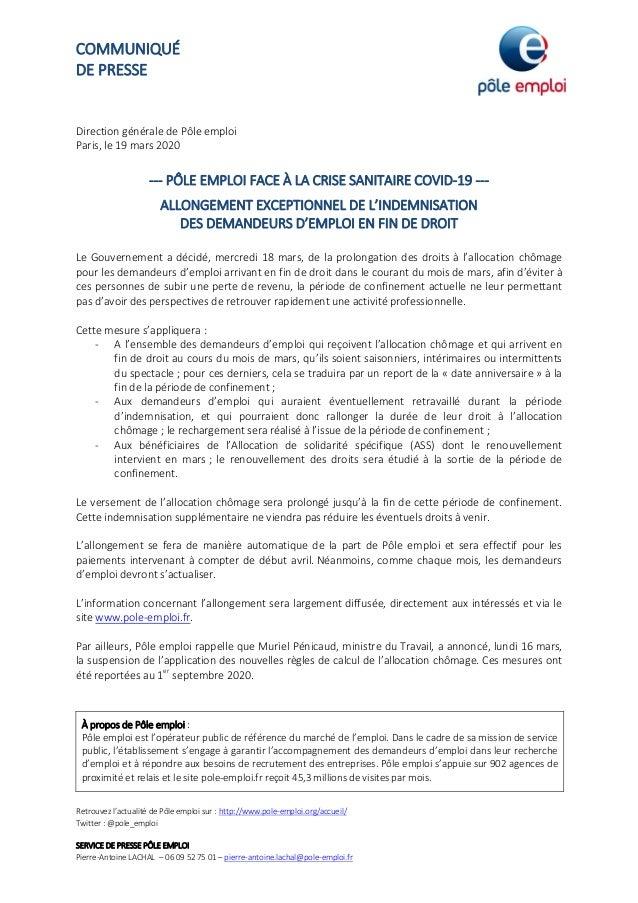 COMMUNIQUÉ DE PRESSE Retrouvez l'actualité de Pôle emploi sur : http://www.pole-emploi.org/accueil/ Twitter : @pole_emploi...