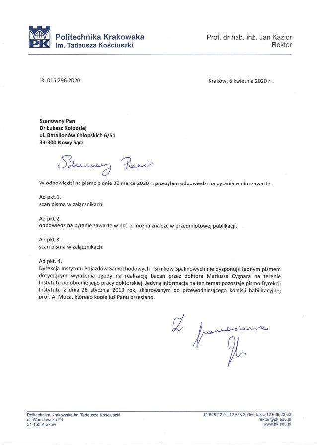 Politechnika Krakowska w odpowiedzi na obronę Cygnara