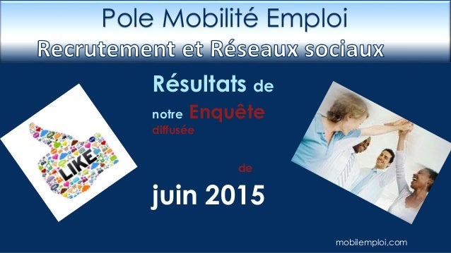 Résultats de notre Enquête diffusée de juin 2015 Pole Mobilité Emploi mobilemploi,com
