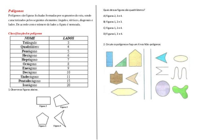 Polígonos Polígonos sãofiguras fechadas formadas por segmentos de reta, sendo caracterizados pelos seguintes elementos: ân...