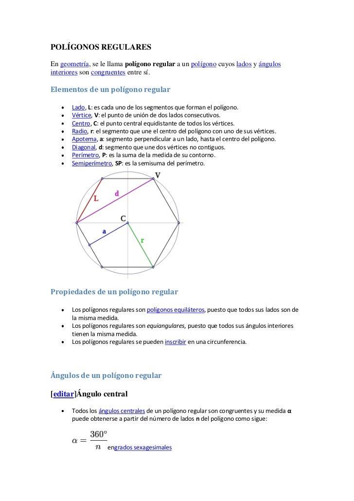 POLÍGONOS REGULARESEn geometría, se le llama polígono regular a un polígono cuyos lados y ángulosinteriores son congruente...