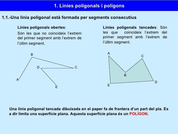 1.1.-Una línia poligonal està formada per segments consecutius Línies poligonals obertes :  Són les que no coincideix l'ex...