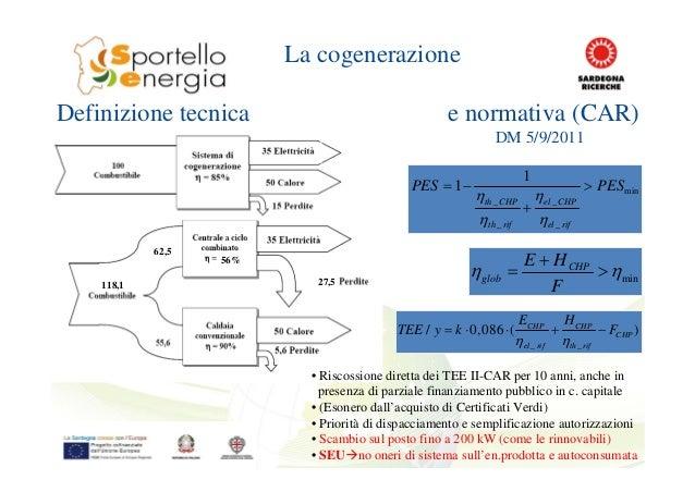56% 118,1 62,5 27,5 La cogenerazione Definizione tecnica e normativa (CAR) DM 5/9/2011 min _ _ _ _ 1 1 th CHP el CHP th ri...