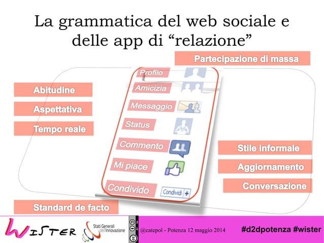 """#d2dpotenza #wister La grammatica del web sociale e delle app di """"relazione"""" @catepol - Potenza 12 maggio 2014"""