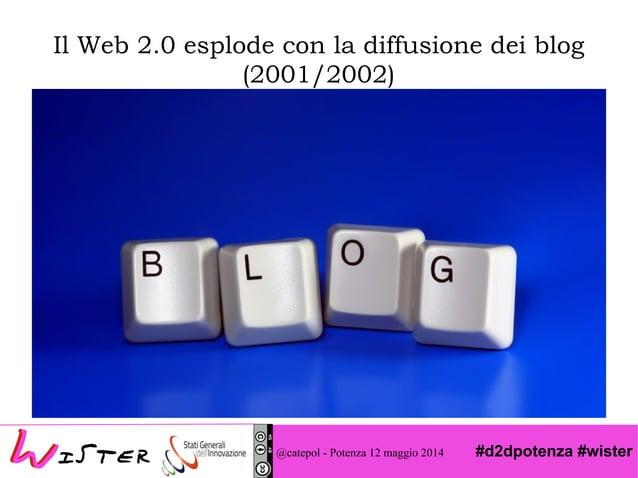 #d2dpotenza #wister Il Web 2.0 esplode con la diffusione dei blog (2001/2002) @catepol - Potenza 12 maggio 2014