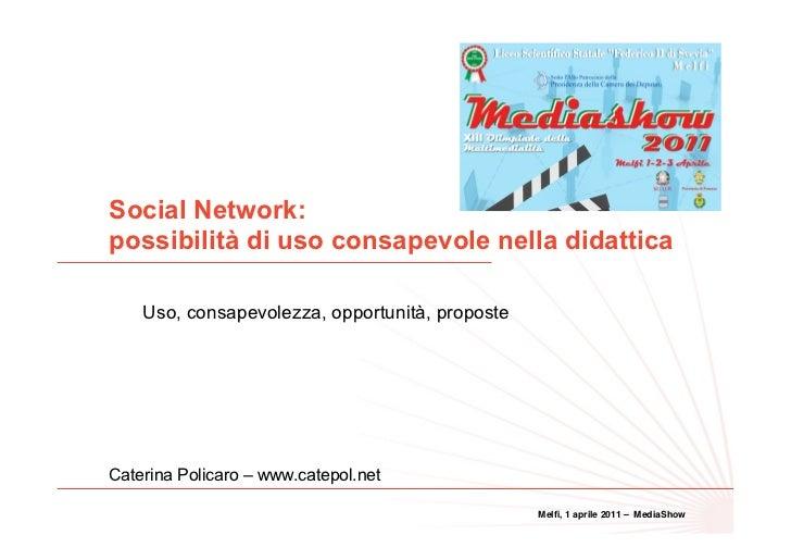 Social Network:possibilità di uso consapevole nella didattica                                                             ...