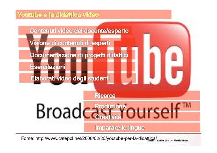 36Fonte: http://www.catepol.net/2008/02/20/youtube-per-la-didattica/ aprile 2011 –                                        ...