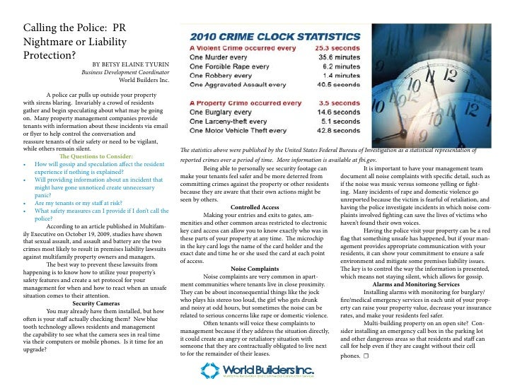 Calling the Police: PRNightmare or LiabilityProtection?                           BY BETSY ELAINE TYURIN                  ...