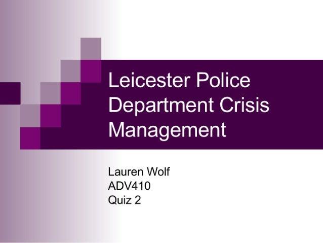 Police Department Crisis Management
