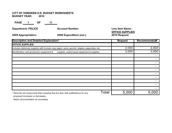 CITY OF HOBOKEN O.E. BUDGET WORKSHEETS BUDGET YEAR:     2010    PAGE          1         OF            11  Department: POLI...