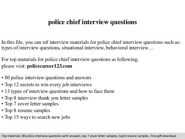 Police Chief Interview Questions And Answers