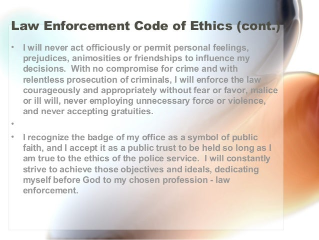 Ethics In Law Enforcement Essay | Mistyhamel