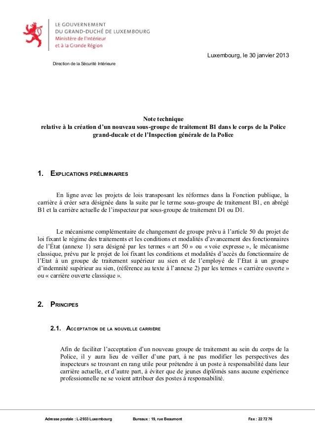 Luxembourg, le 30 janvier 2013      Direction de la Sécurité Intérieure                                        Note techni...