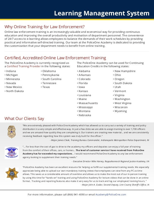 PoliceOne Academy Online Training & Learning Management System Brochu…
