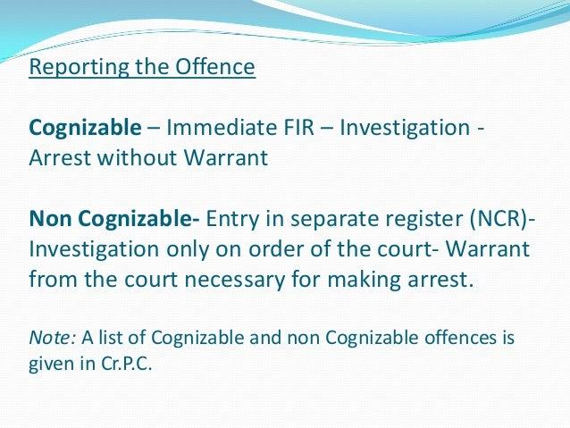 cognizable offence list