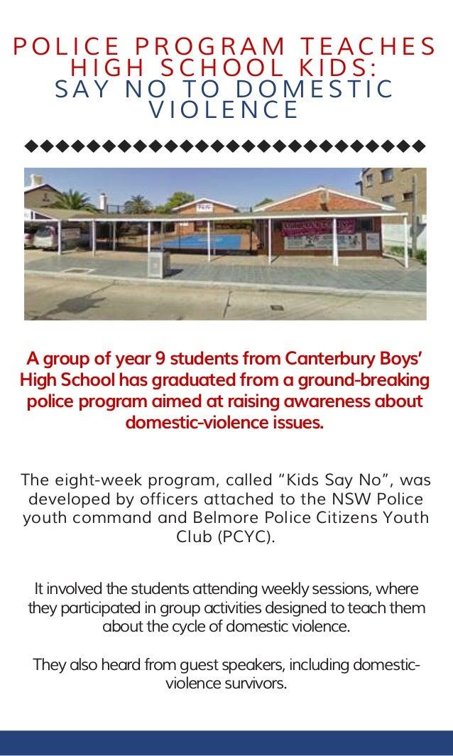 Police Program Teaches High School Kids Say No To Domestic Violence