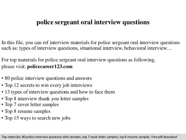 police sergeant oral interview questions