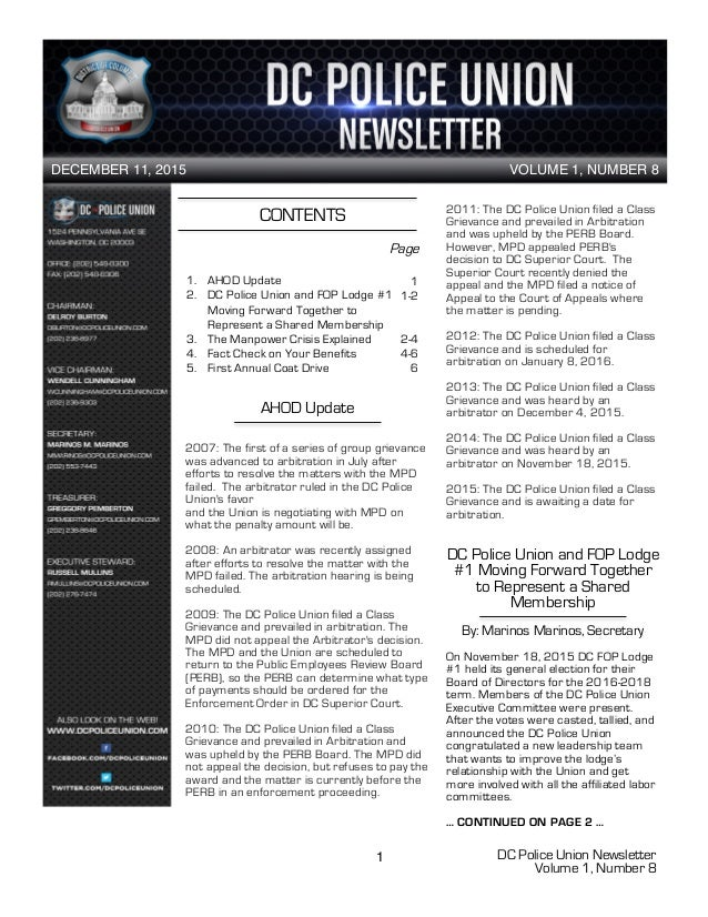 DC Police Union Newsletter Volume 1, Number 8 1 CONTENTS 1. AHOD Update 2. DC Police Union and FOP Lodge #1 Moving Forward...
