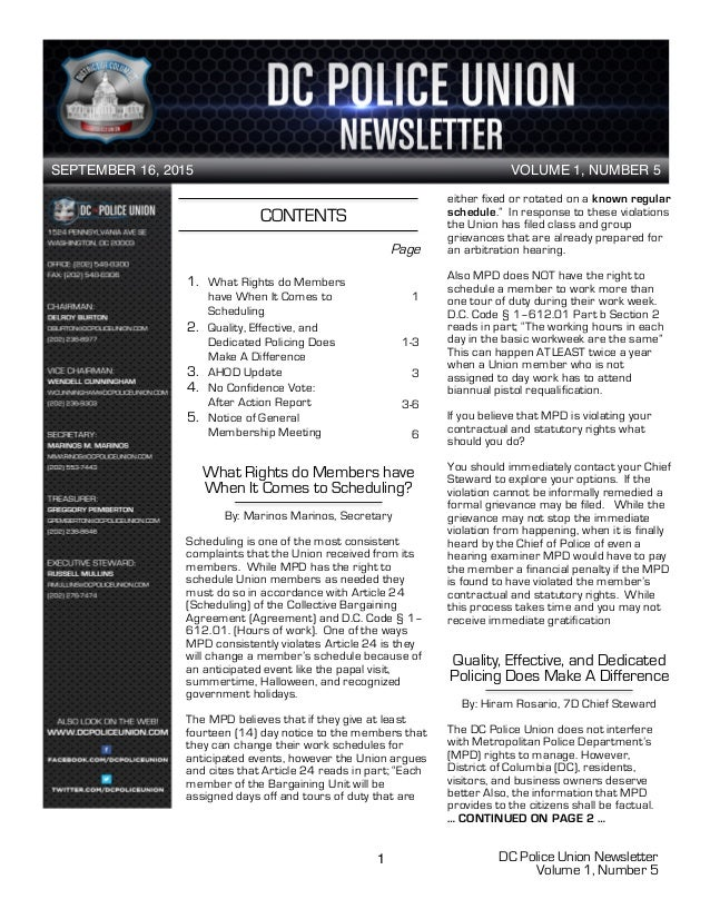 DC Police Union Newsletter Volume 1, Number 5 1 CONTENTS 1. What Rights do Members have When It Comes to Scheduling 2. Qua...