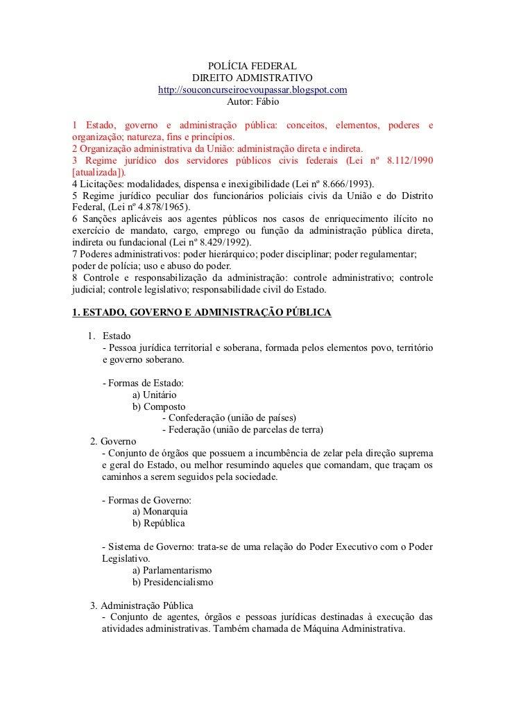 POLÍCIA FEDERAL                             DIREITO ADMISTRATIVO                    http://souconcurseiroevoupassar.blogsp...