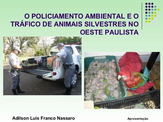 O POLICIAMENTO AMBIENTAL E OTRÁFICO DE ANIMAIS SILVESTRES NO                 OESTE PAULISTAAdilson Luís Franco Nassaro   A...