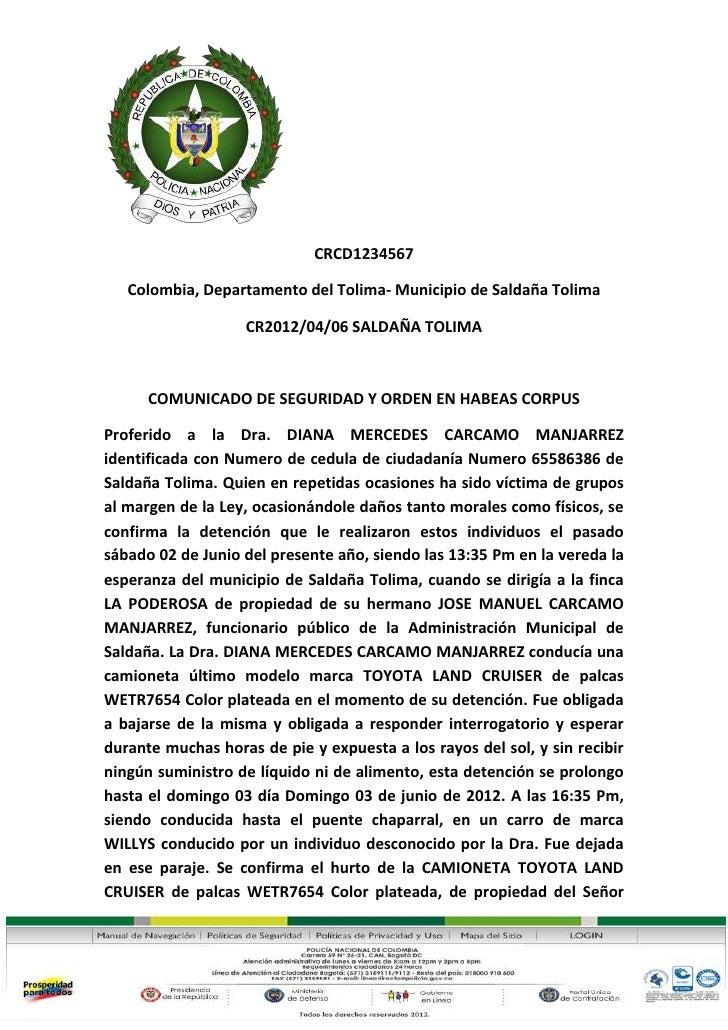 CRCD1234567   Colombia, Departamento del Tolima- Municipio de Saldaña Tolima                   CR2012/04/06 SALDAÑA TOLIMA...