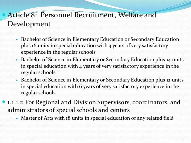  Article 8: Personnel Recruitment, Welfare and  Development        Bachelor of Science in Elementary Education or Second...