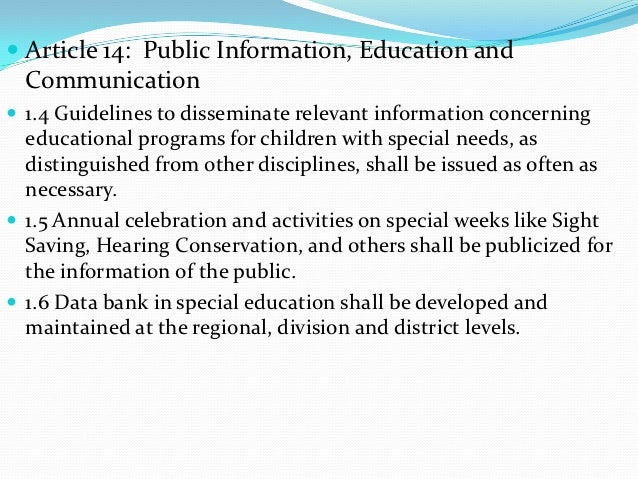  Article 14: Public Information, Education and  Communication 1.4 Guidelines to disseminate relevant information concern...