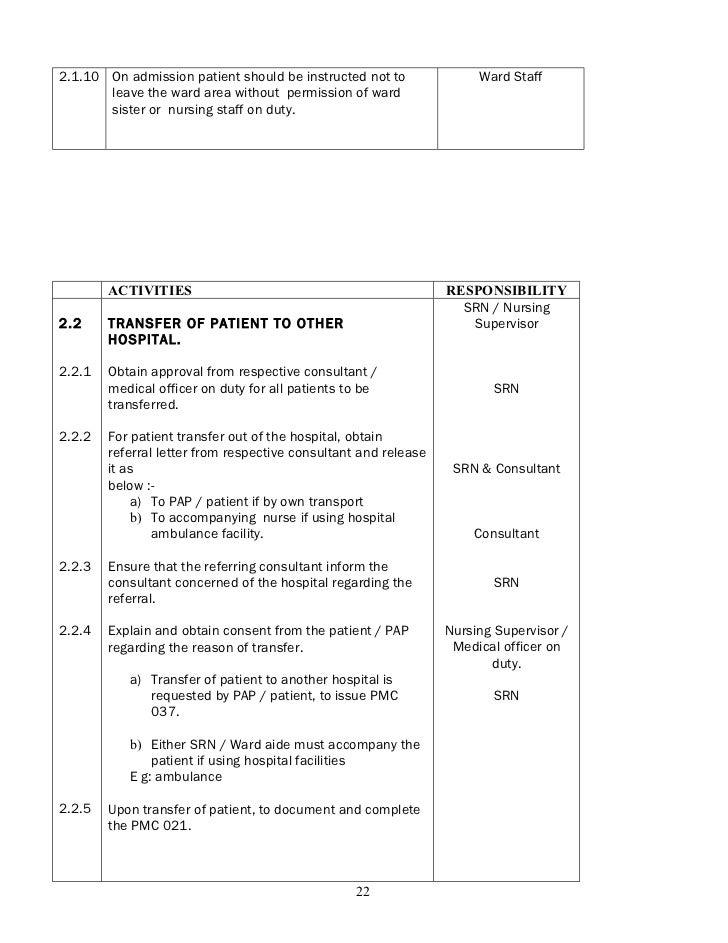Policies and procedure nursing