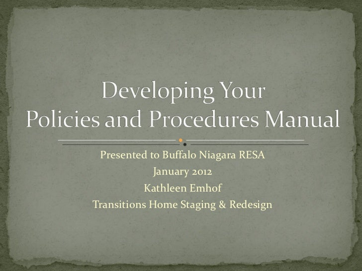 Presented to Buffalo Niagara RESA January 2012 Kathleen Emhof Transitions Home Staging & Redesign