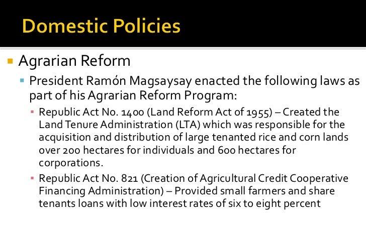 "policies of ramon magsaysay A boholano's view by jose ""pepe"" abueva the  his announced policies and programs and his  my political biography ramon magsaysay:."