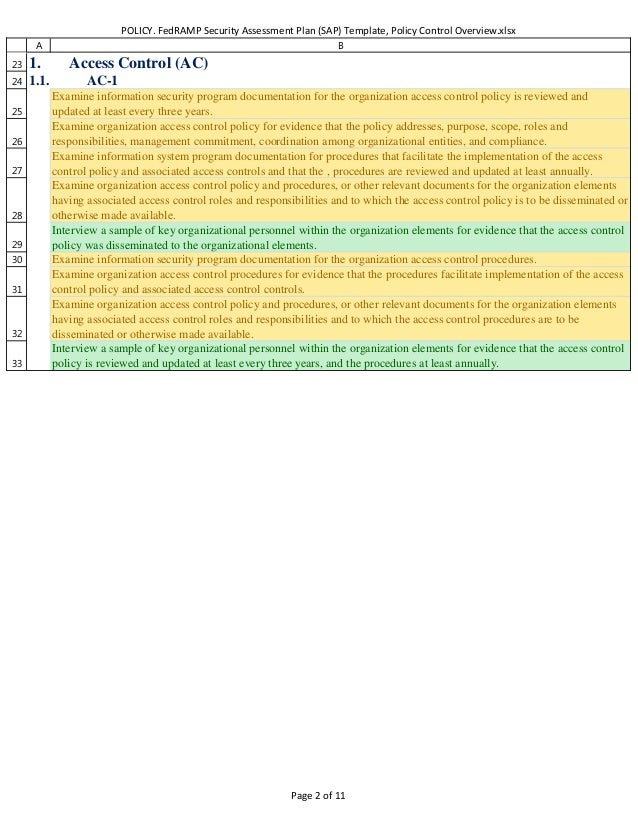 Policy FedRAMP Security Assessment Plan SAP Template Policy and P – Security Assessment Template