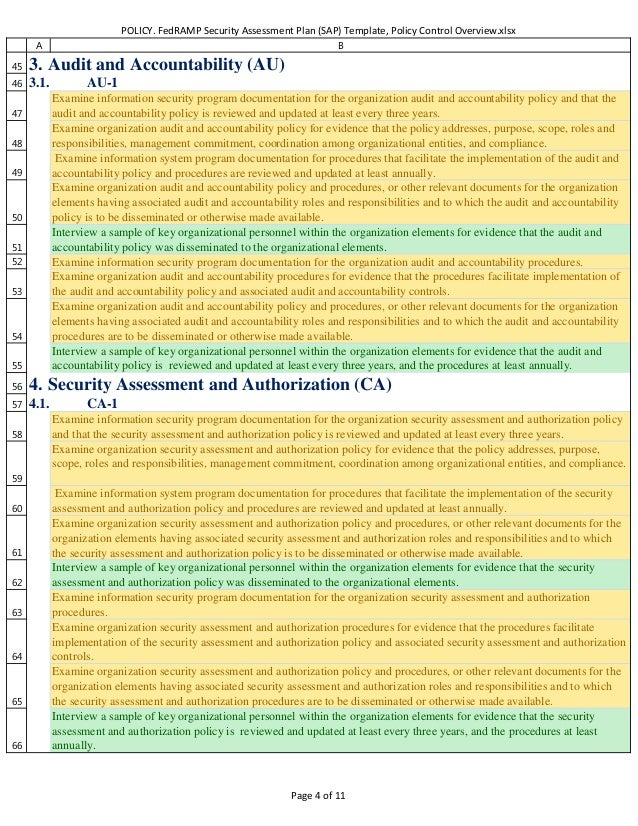 Policy Fedramp Security Assessment Plan Sap Template