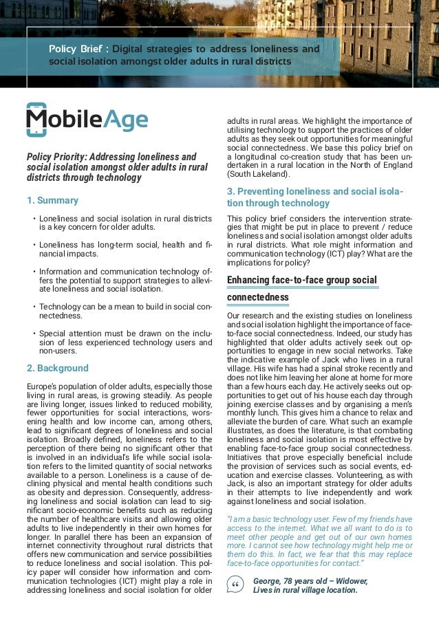 Brief Intervention May Prevent >> Policy Brief Digital Strategies To Address Loneliness And
