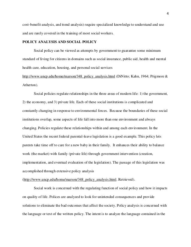 example of social policy analysis paper