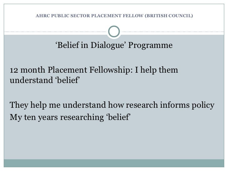 Policy and Partnerships Perspective' – Dr Abby Day, AHRC Public Sector Placements Fellow (British Council), University of Kent Slide 3