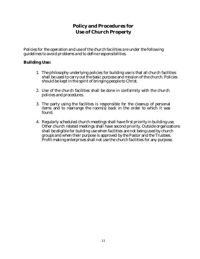 Policy and procedure manual church sample 11 altavistaventures Image collections