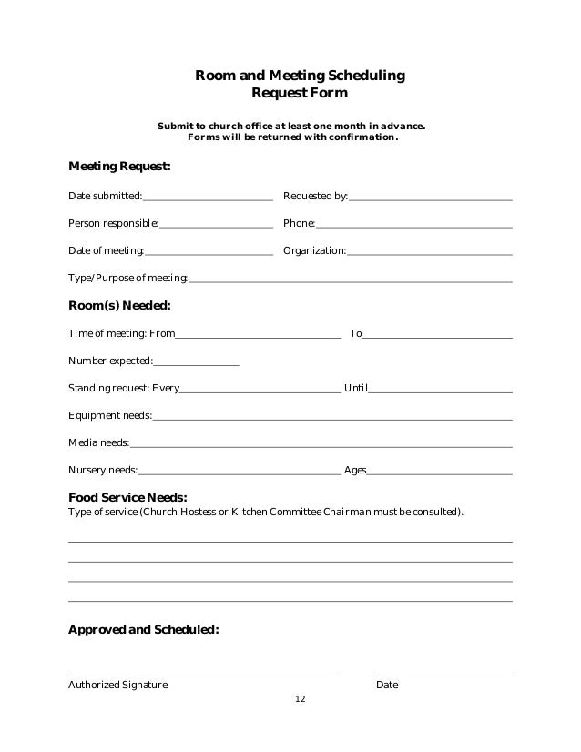 Key Request Form Room And Meeting Scheduling Request Form Policy