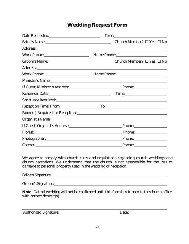 Policy and procedure manual church sample 14 14 wedding request form thecheapjerseys Choice Image