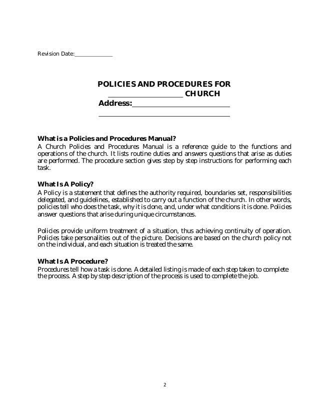 policy and procedure manual church sample rh slideshare net church service manual Wordie Manual