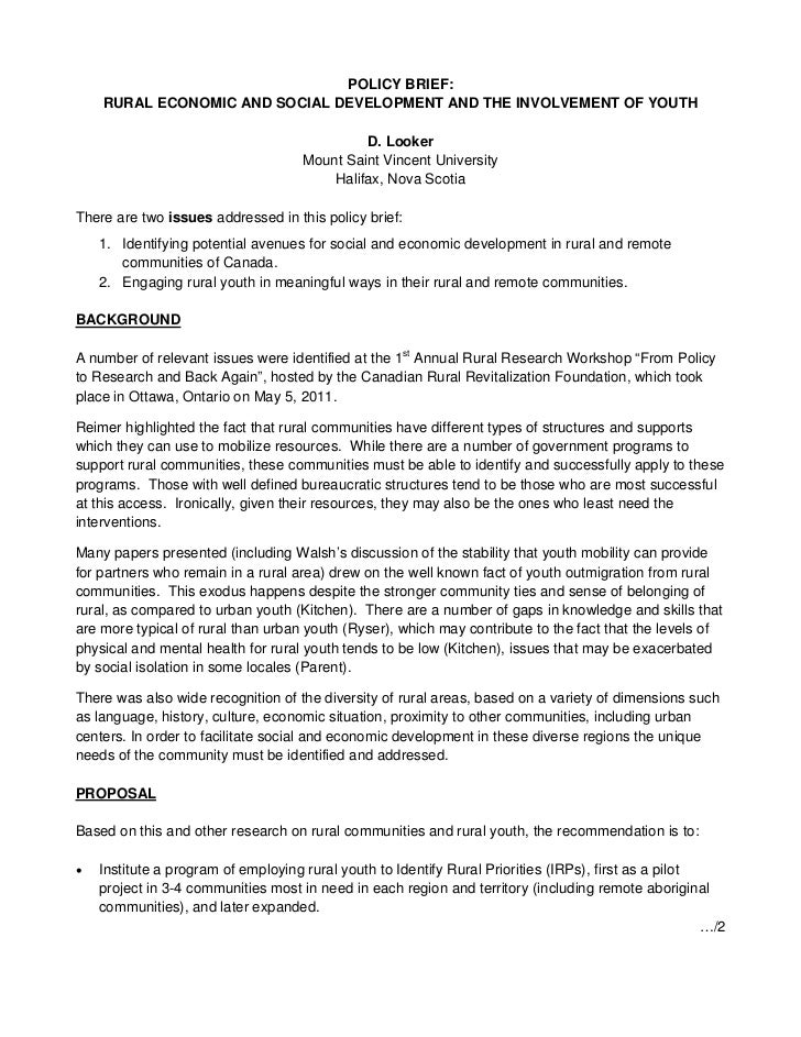 POLICY BRIEF:    RURAL ECONOMIC AND SOCIAL DEVELOPMENT AND THE INVOLVEMENT OF YOUTH                                       ...